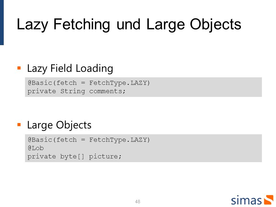 Lazy Fetching und Large Objects