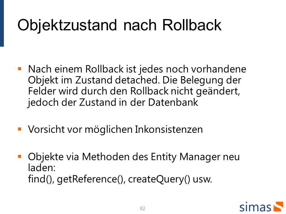 Objektzustand nach Rollback