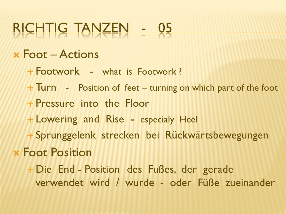 Richtig Tanzen - 05 Foot – Actions Foot Position