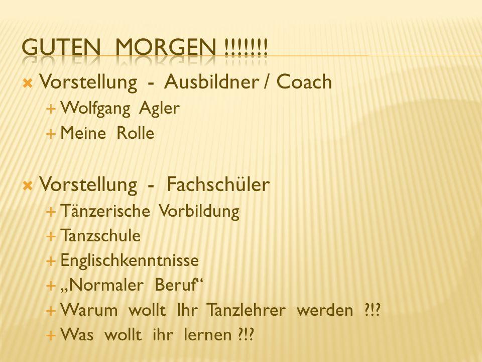 Guten Morgen !!!!!!! Vorstellung - Ausbildner / Coach