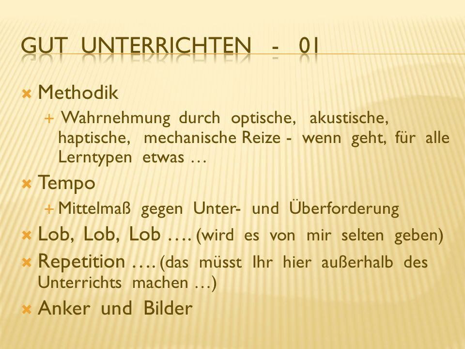 Gut Unterrichten - 01 Methodik Tempo