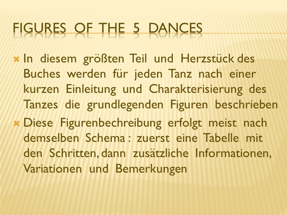 Figures of the 5 Dances