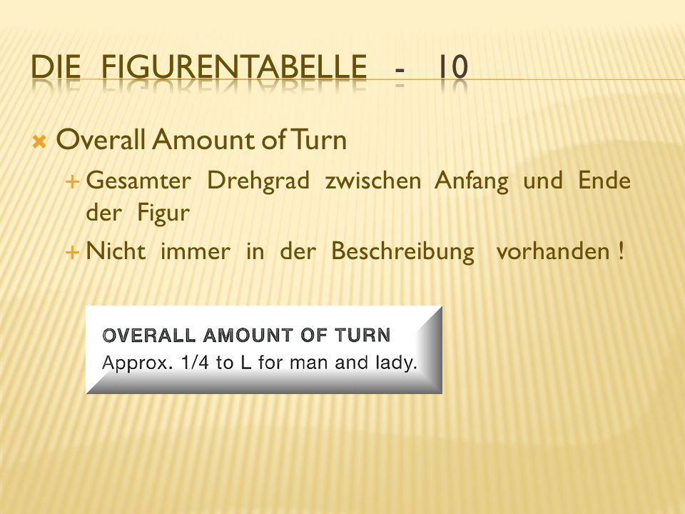 Die Figurentabelle - 10 Overall Amount of Turn