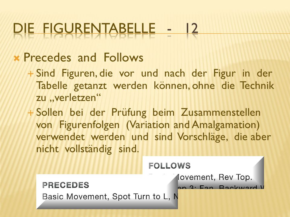 Die Figurentabelle - 12 Precedes and Follows