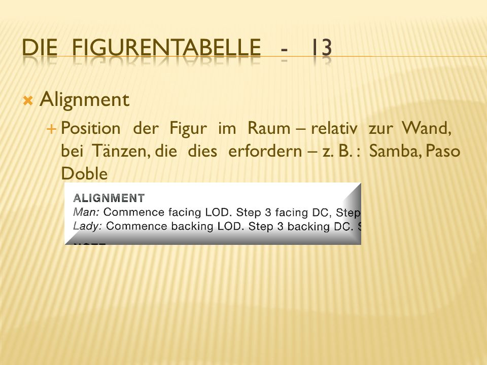 Die Figurentabelle - 13 Alignment