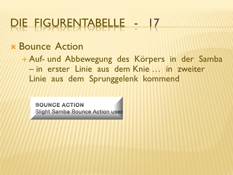 Die Figurentabelle - 17 Bounce Action