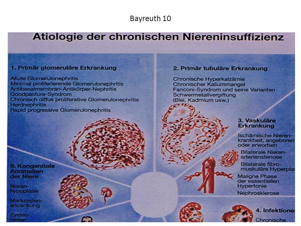 Bayreuth 10 Der Ausschnitt aus einem Lehrbuch über Nierenerkrankungen zeigt unter Nr. 8 verschiedene angeborene zystische Erkrankungen der Niere.