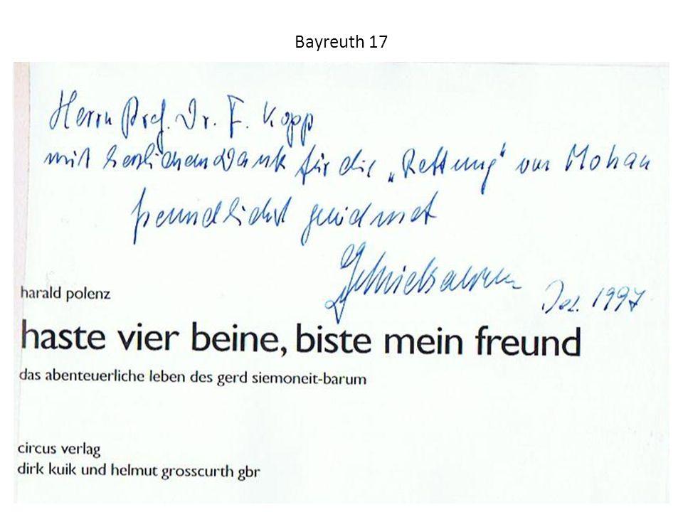 Bayreuth 17 Dezember 1997 – Widmung und Dank