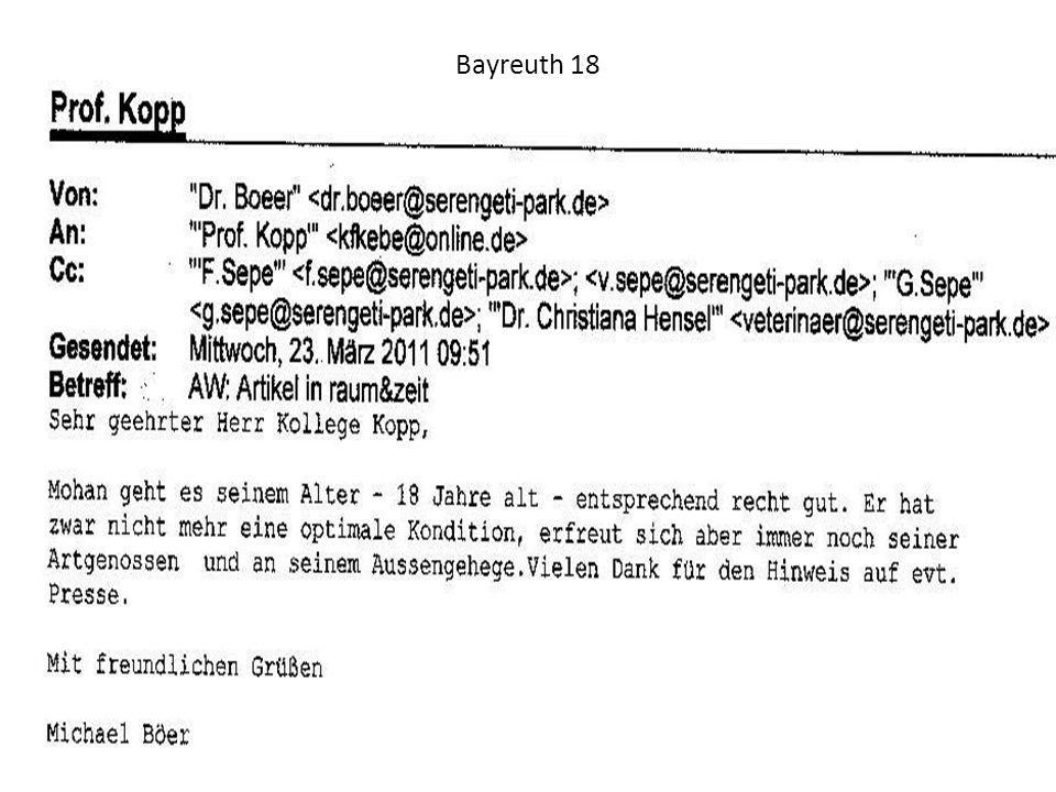 Dr. med. vet. M. Böer berichtet und läßt grüßen