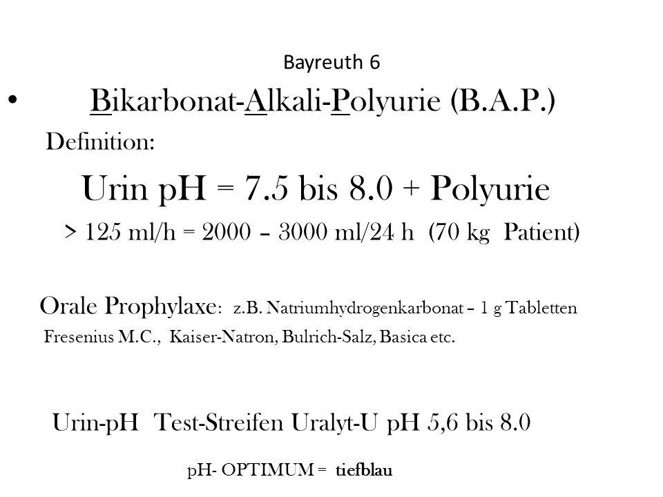 Urin pH = 7.5 bis 8.0 + Polyurie Bikarbonat-Alkali-Polyurie (B.A.P.)