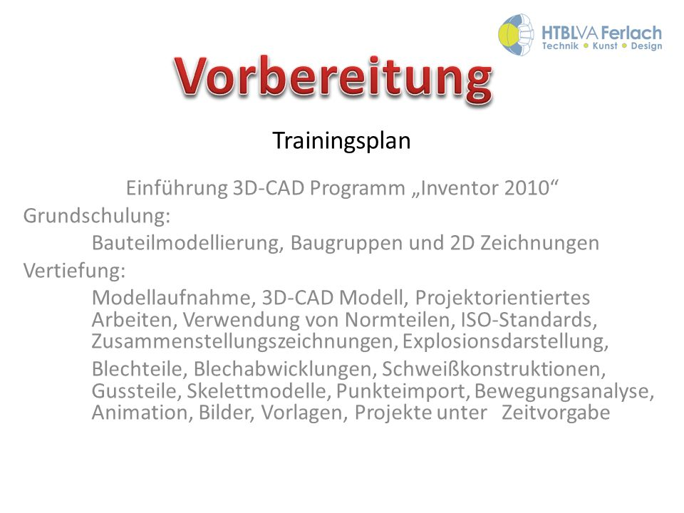 """Einführung 3D-CAD Programm """"Inventor 2010"""