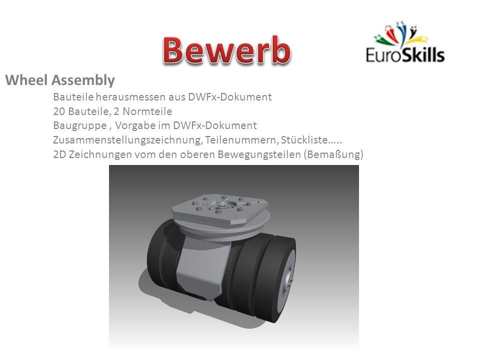Bewerb Wheel Assembly Bauteile herausmessen aus DWFx-Dokument