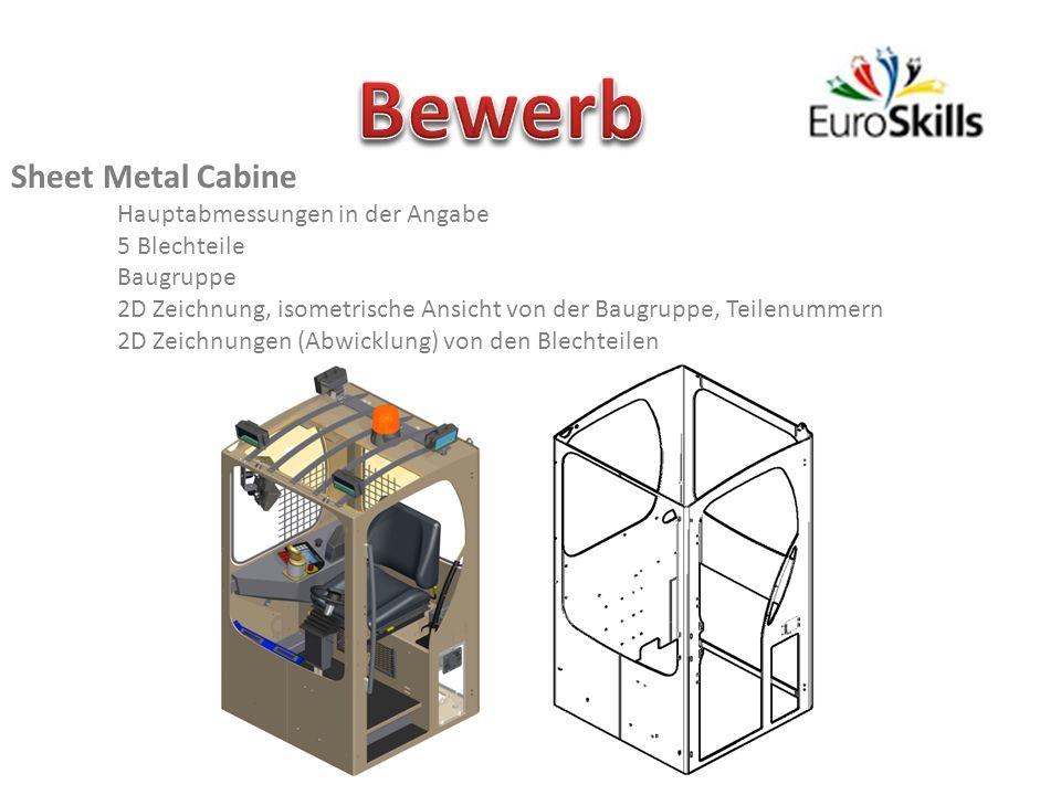 Bewerb Sheet Metal Cabine Hauptabmessungen in der Angabe 5 Blechteile