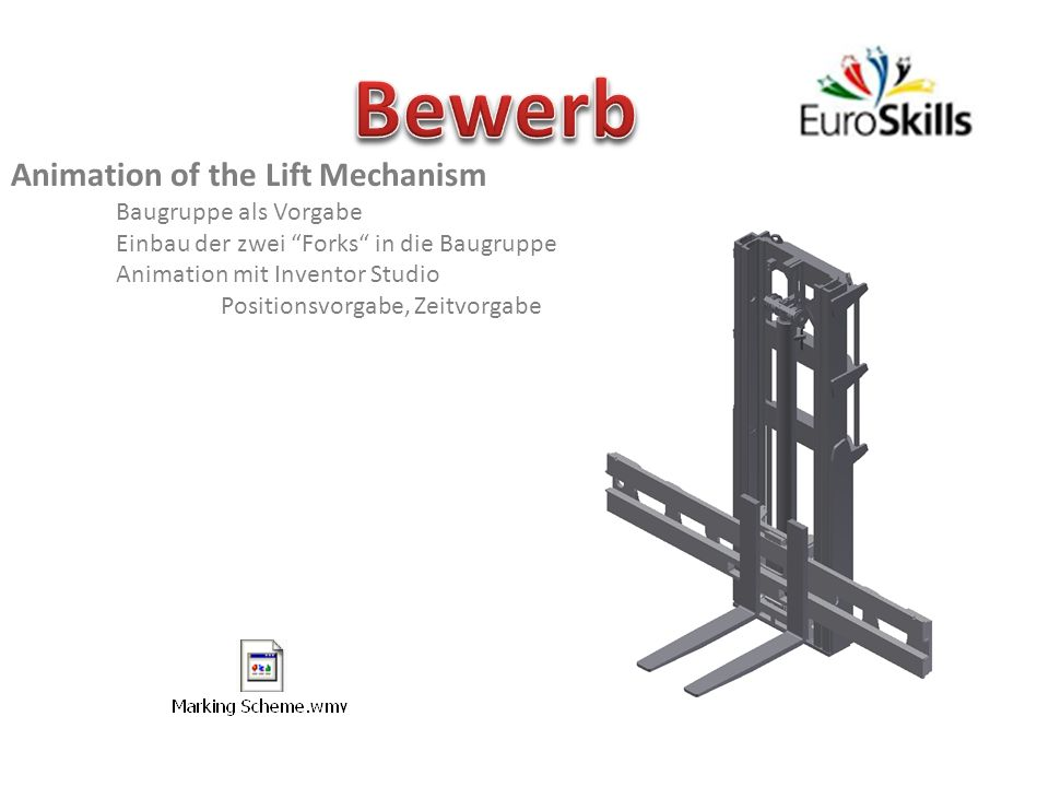 Bewerb Animation of the Lift Mechanism Baugruppe als Vorgabe