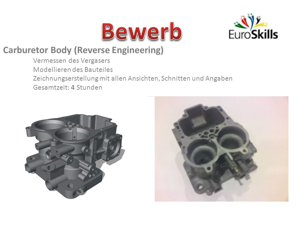 Bewerb Carburetor Body (Reverse Engineering) Vermessen des Vergasers