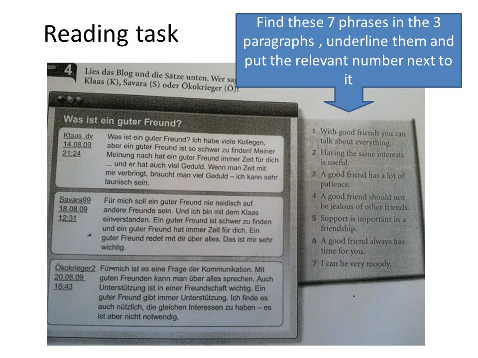 Reading task Find these 7 phrases in the 3 paragraphs , underline them and put the relevant number next to it.