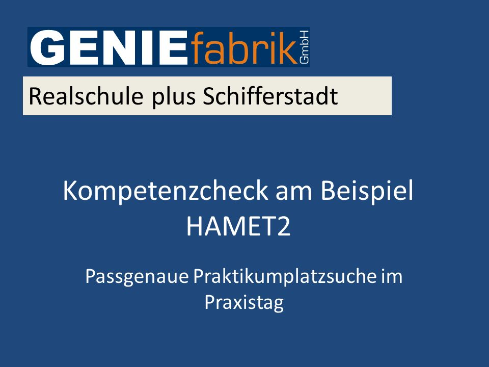 Kompetenzcheck am Beispiel HAMET2