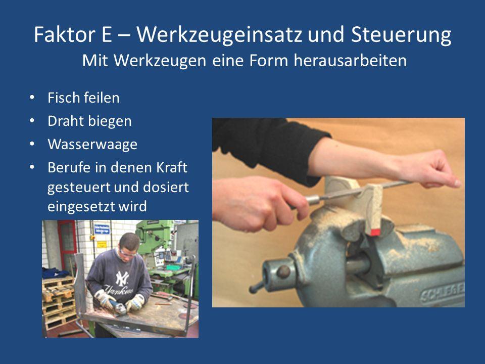 Faktor E – Werkzeugeinsatz und Steuerung Mit Werkzeugen eine Form herausarbeiten