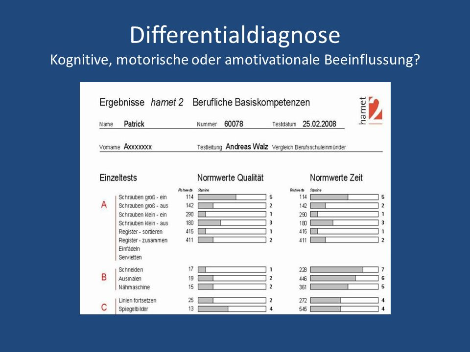 Differentialdiagnose Kognitive, motorische oder amotivationale Beeinflussung