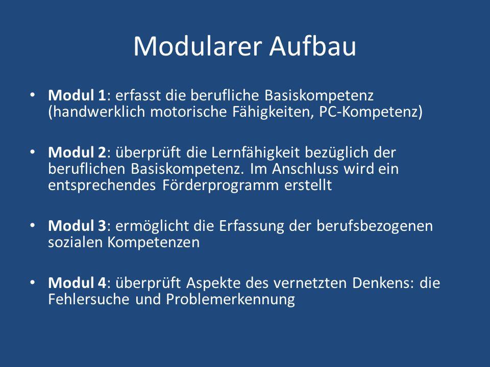 Modularer Aufbau Modul 1: erfasst die berufliche Basiskompetenz (handwerklich motorische Fähigkeiten, PC-Kompetenz)