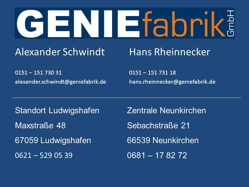 Alexander Schwindt Hans Rheinnecker Standort Ludwigshafen Maxstraße 48