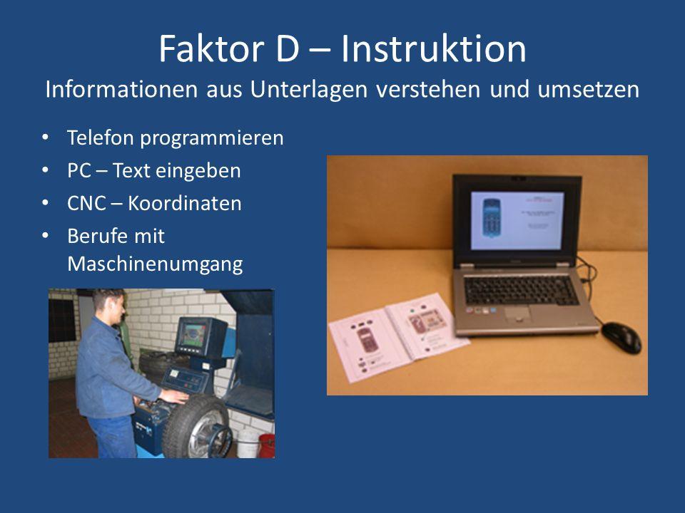 Faktor D – Instruktion Informationen aus Unterlagen verstehen und umsetzen