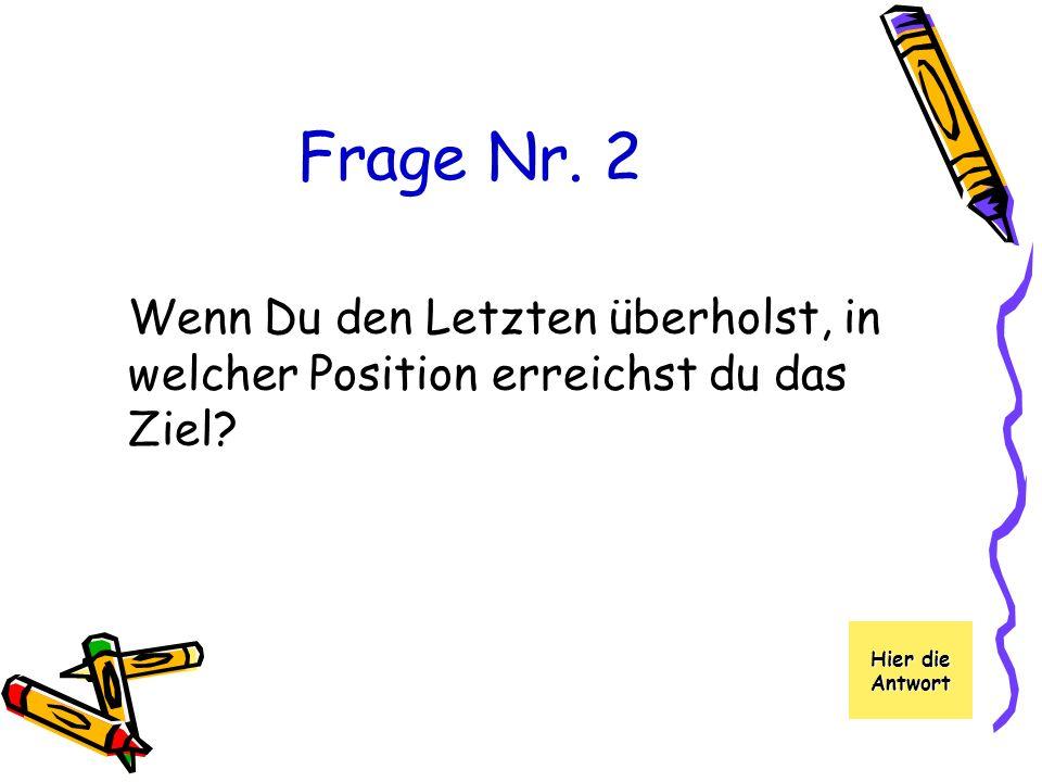 Frage Nr. 2 Wenn Du den Letzten überholst, in welcher Position erreichst du das Ziel.