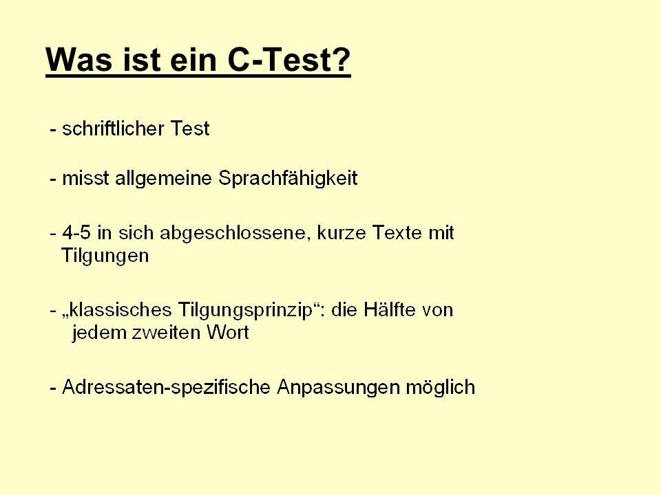Was ist ein C-Test Stichpunkte kommen nacheinander über Klick ins Bild
