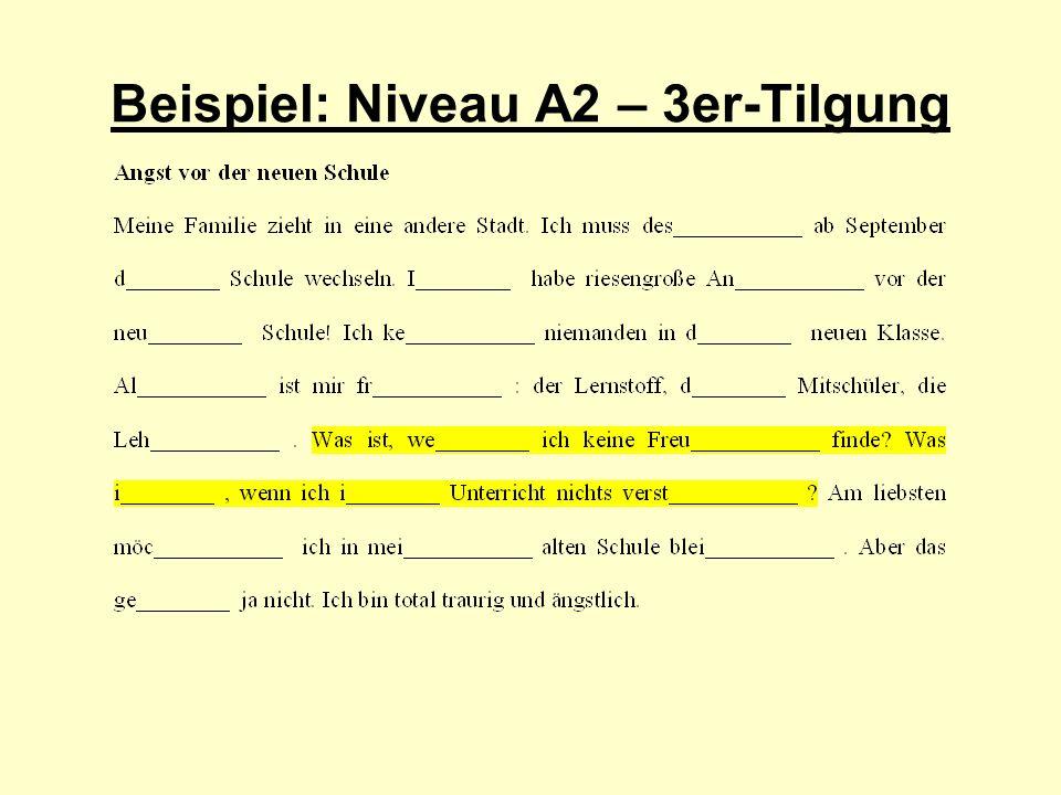 Beispiel: Niveau A2 – 3er-Tilgung