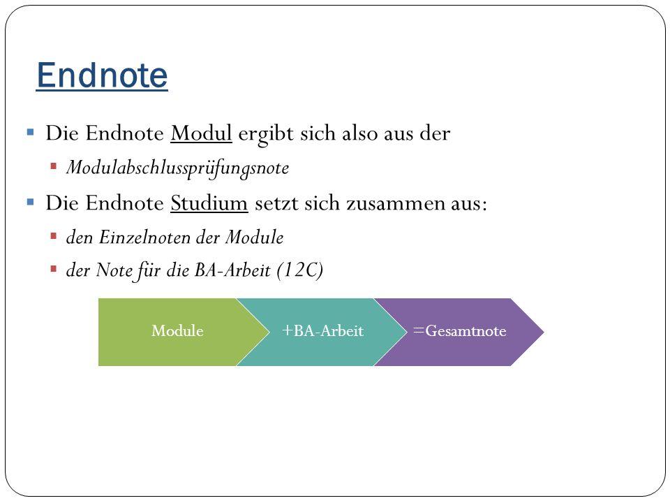 Endnote Die Endnote Modul ergibt sich also aus der