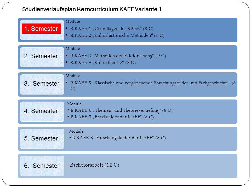 Studienverlaufsplan Kerncurriculum KAEE Variante 1