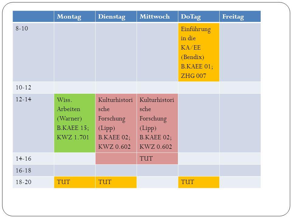 Montag Dienstag. Mittwoch. DoTag. Freitag. 8-10. Einführung in die KA/EE (Bendix) B.KAEE 01; ZHG 007.
