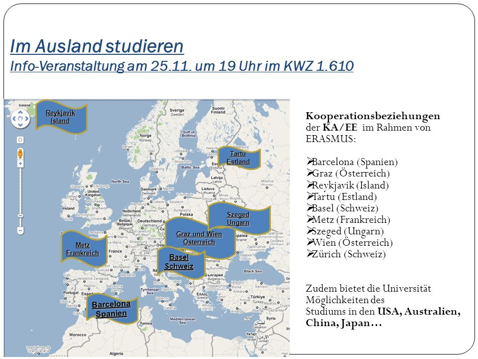 Im Ausland studieren Info-Veranstaltung am 25. 11. um 19 Uhr im KWZ 1