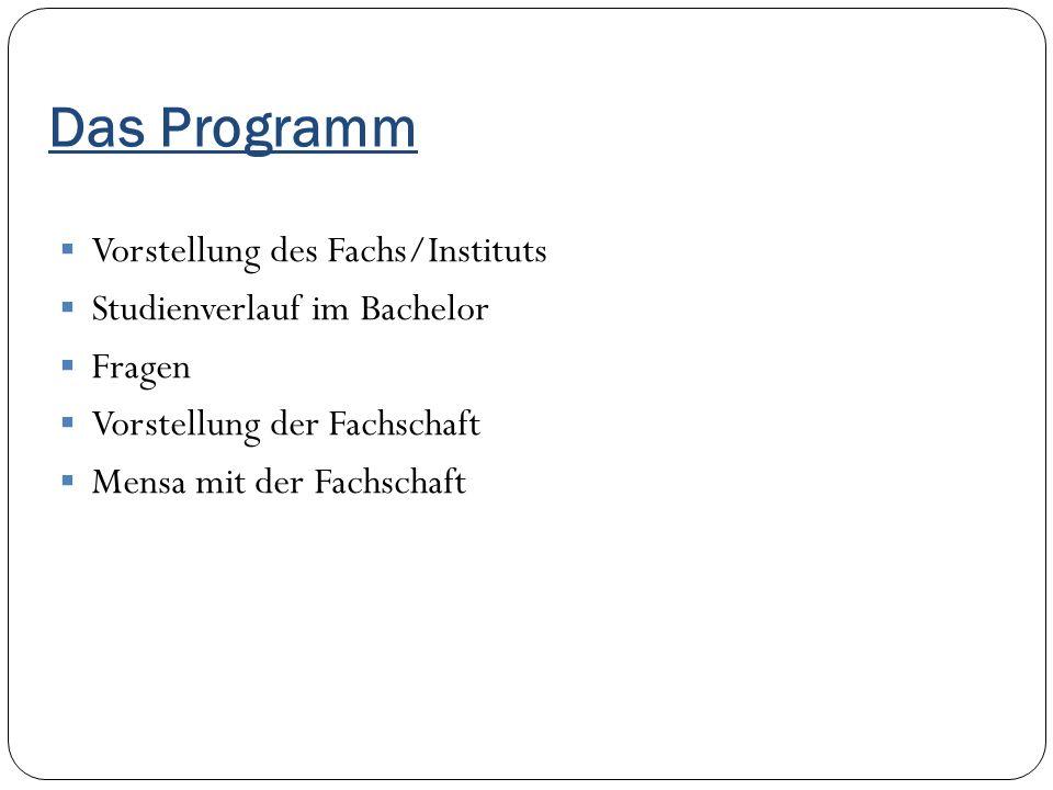 Das Programm Vorstellung des Fachs/Instituts