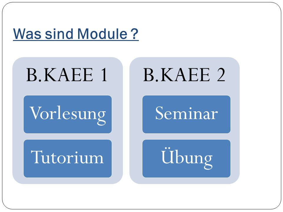 Was sind Module B.KAEE 1 Vorlesung Tutorium B.KAEE 2 Seminar Übung