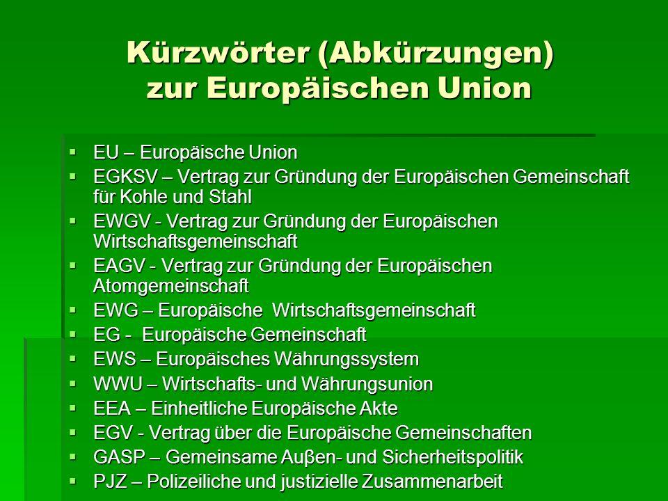 Kürzwörter (Abkürzungen) zur Europäischen Union