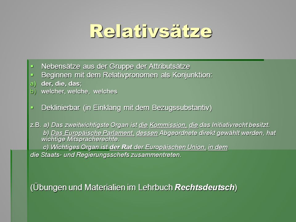 Relativsätze (Übungen und Materialien im Lehrbuch Rechtsdeutsch)