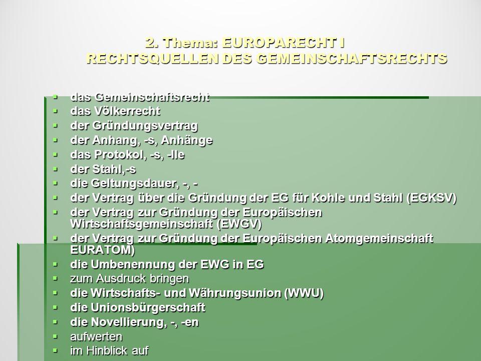 2. Thema: EUROPARECHT I RECHTSQUELLEN DES GEMEINSCHAFTSRECHTS