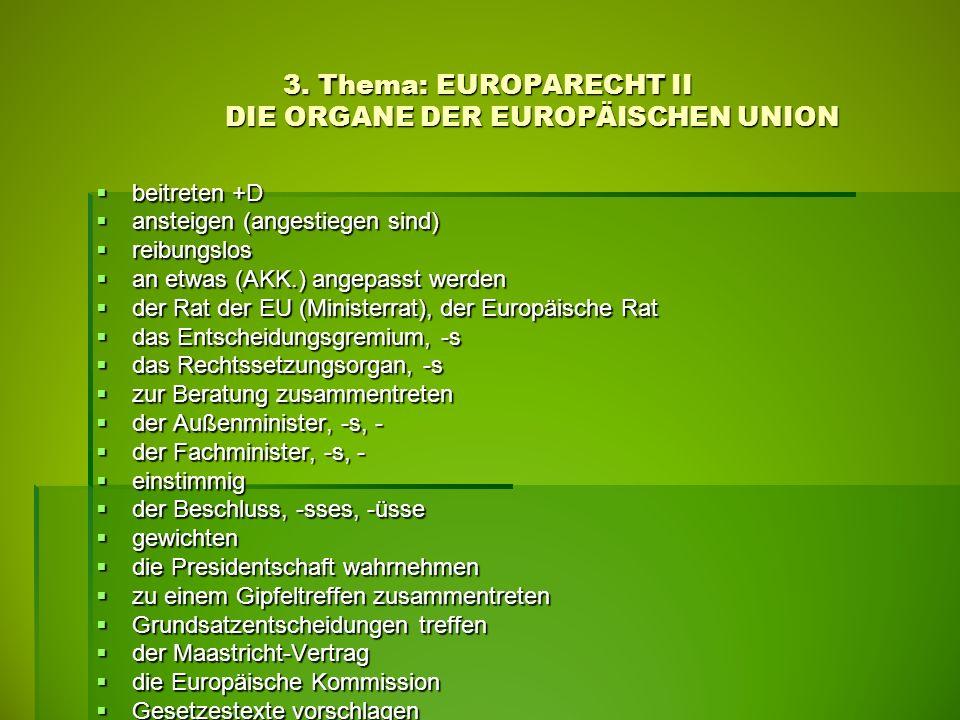 3. Thema: EUROPARECHT II DIE ORGANE DER EUROPÄISCHEN UNION