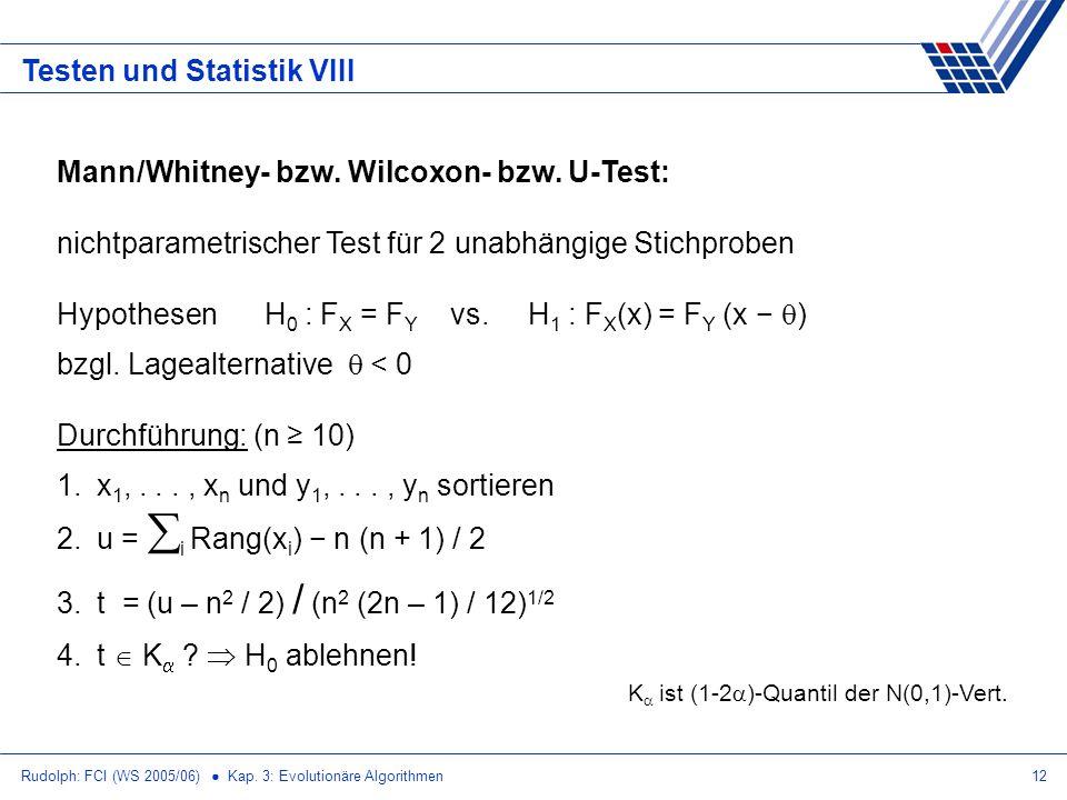 Testen und Statistik VIII