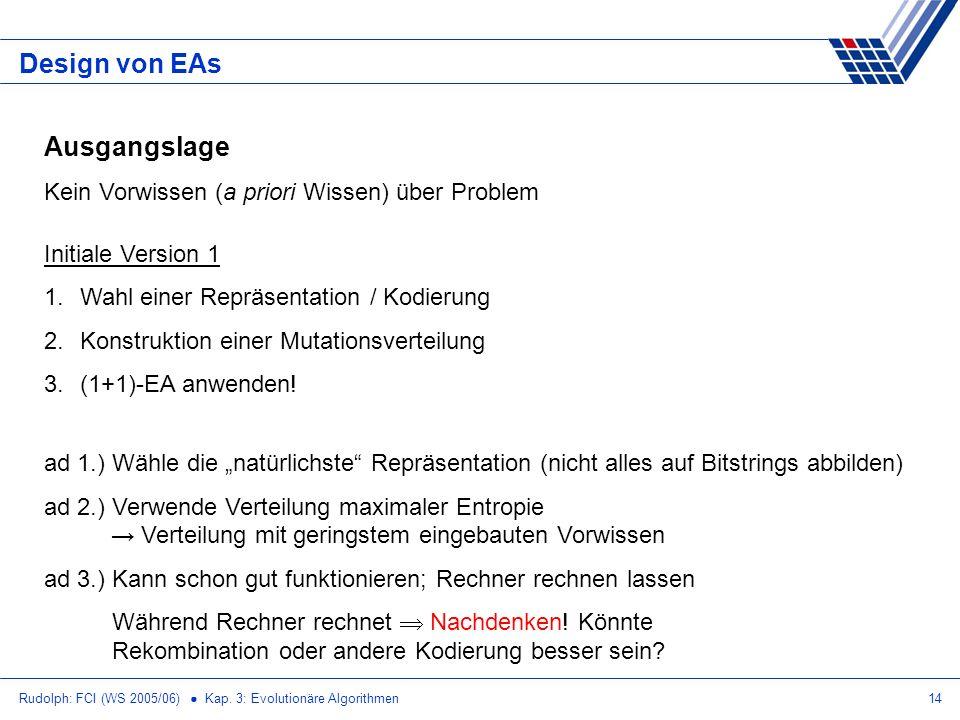 Design von EAs Ausgangslage