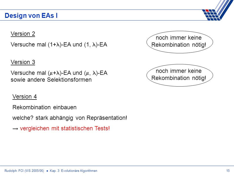 Design von EAs I Version 2 Versuche mal (1+)-EA und (1, )-EA