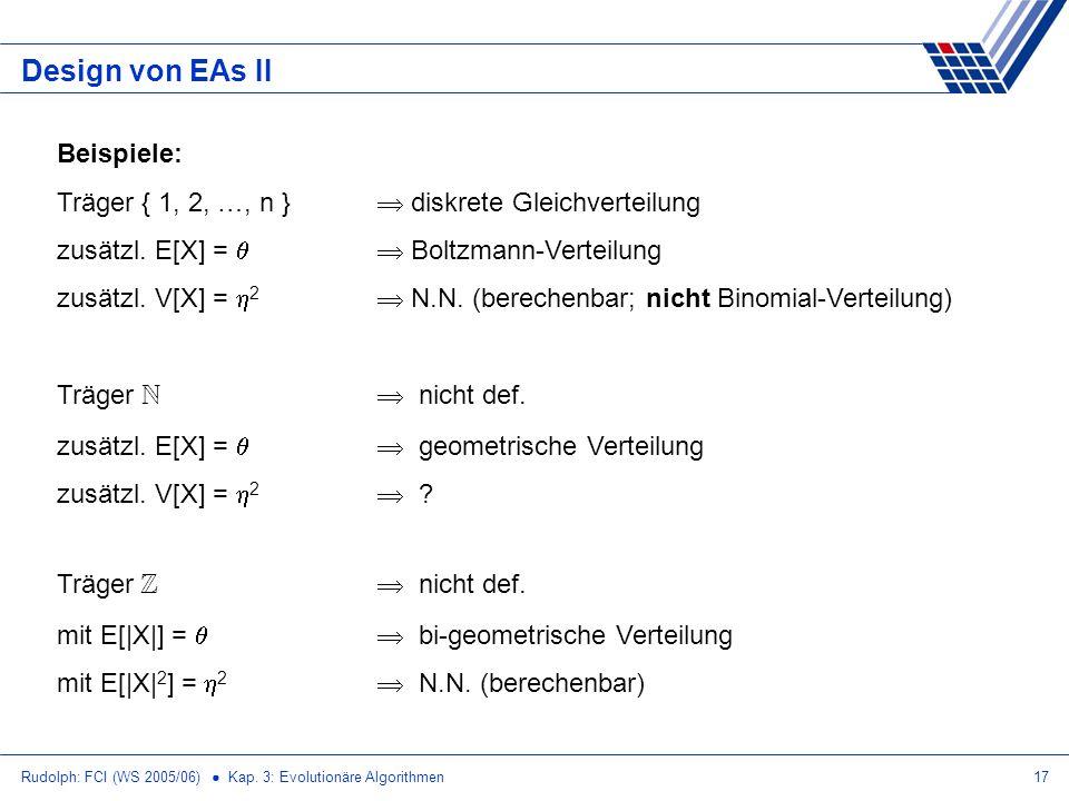 Design von EAs II Beispiele: