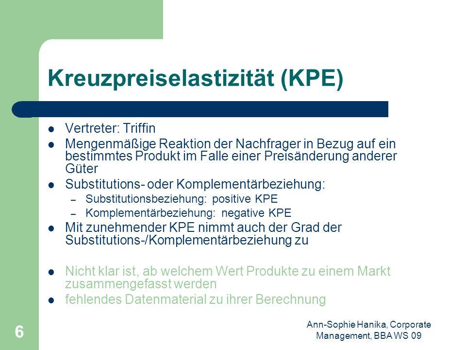 Kreuzpreiselastizität (KPE)