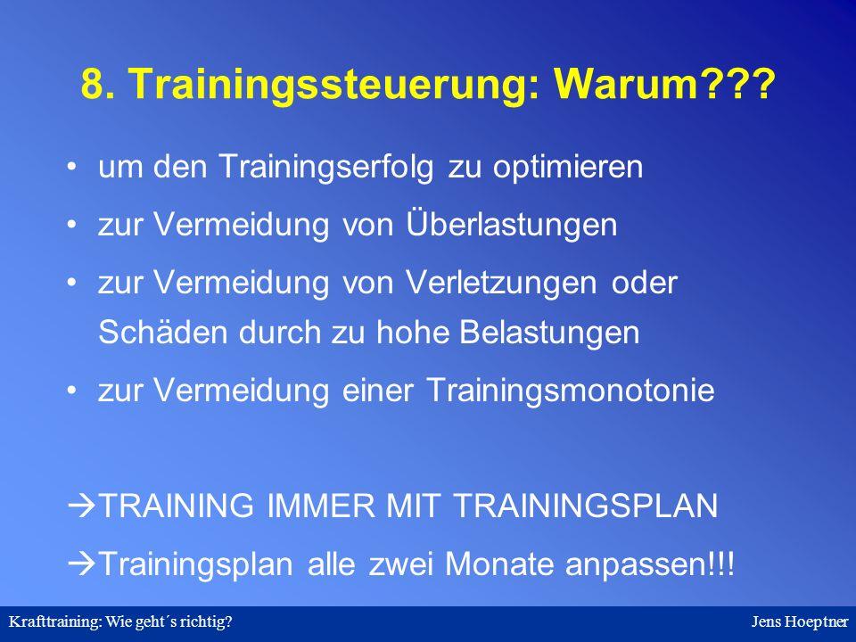 8. Trainingssteuerung: Warum