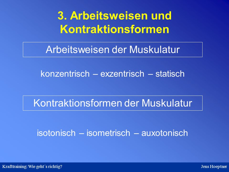 3. Arbeitsweisen und Kontraktionsformen