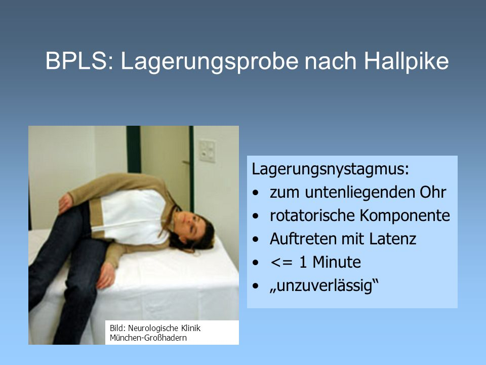 BPLS: Lagerungsprobe nach Hallpike