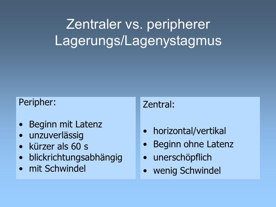 Zentraler vs. peripherer Lagerungs/Lagenystagmus