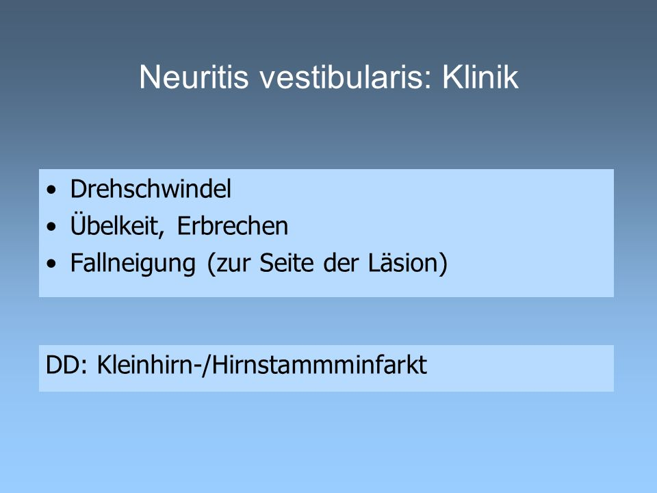 Neuritis vestibularis: Klinik