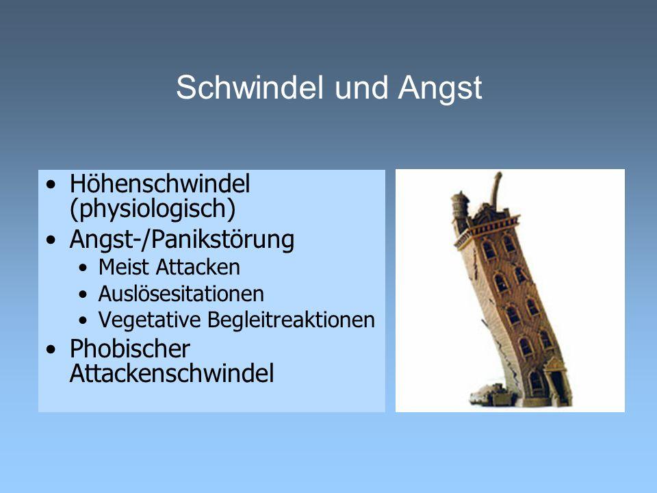 Schwindel und Angst Höhenschwindel (physiologisch) Angst-/Panikstörung